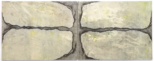 003_Raunacht IV, 2-teilig, Acryl und Graphit auf Leinwand, 300 x 120 cm, 2017_web