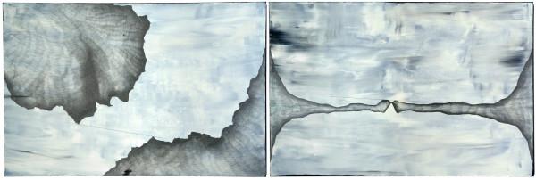 03_Crossroads, 2-teilig, Acryl und Graphit auf Leinwand, 300 x 120 x 4 cm, 2018