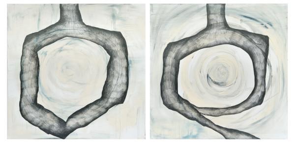 04_Targets (Sich selber treffen), 2-teilig, Acryl und Graphit auf Leinwand, 160 x 80 x 4 cm, 2018
