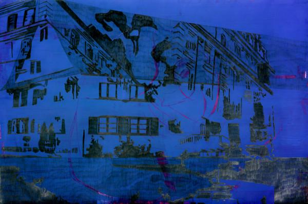 04_Zeichnung_OhneTitel(Häuser) aus Song of me II, Graphit auf Acryl auf Papier, 100 x 150 cm, 2008_